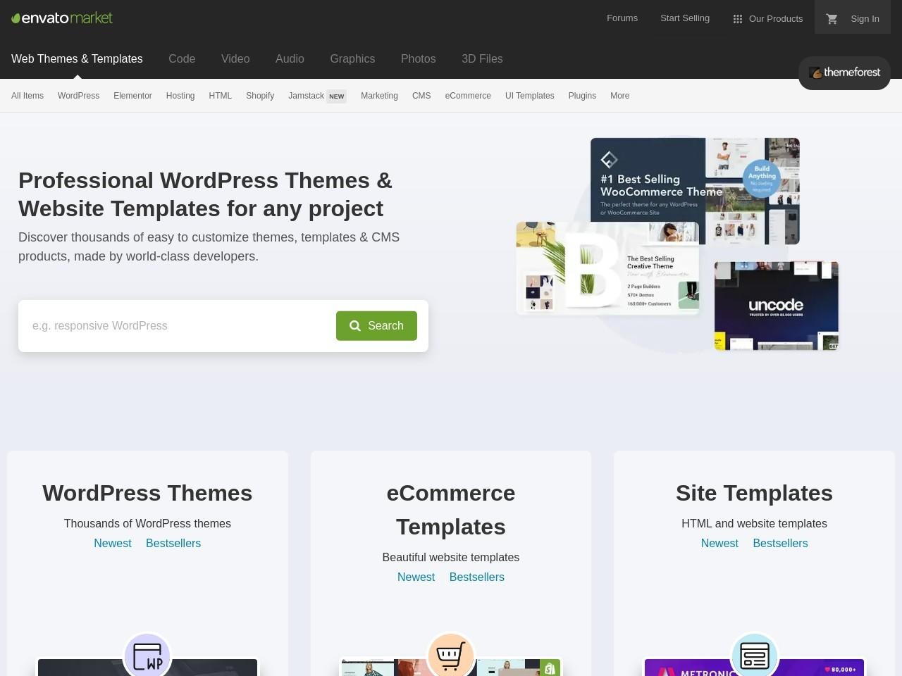 Screenshot of themeforest.net