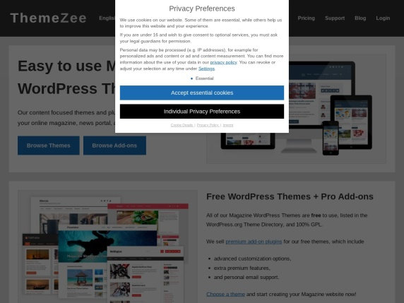 ThemeZee homepage