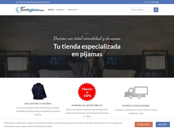 Captura de pantalla de tiendapijamas.com