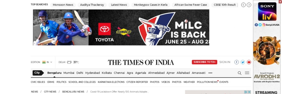 Screenshot of timesofindia.indiatimes.com