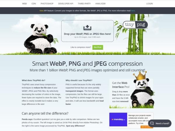 Screenshot of tinypng.com