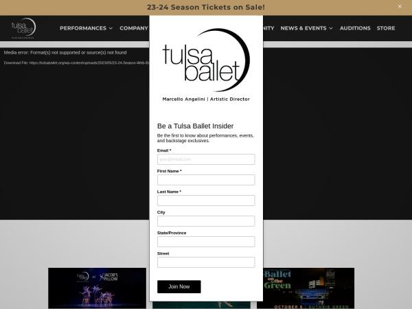 Screenshot of tulsaballet.org