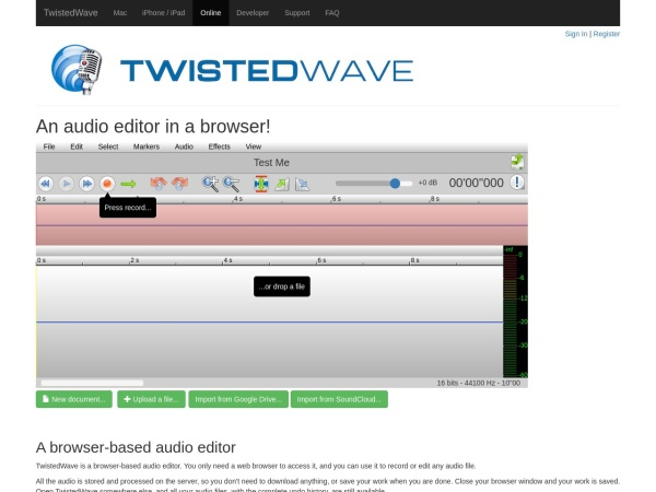 Screenshot of twistedwave.com