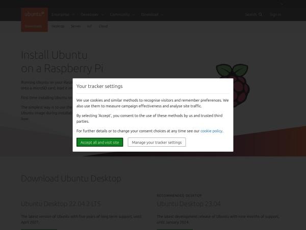 Screenshot of ubuntu.com