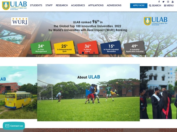 Screenshot of ulab.edu.bd