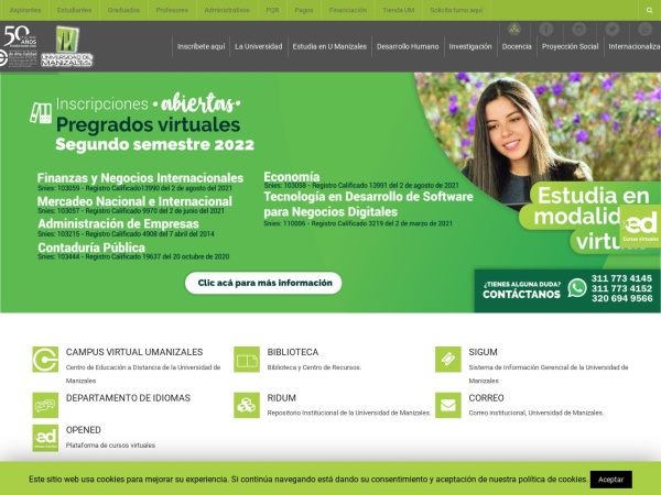 Screenshot of umanizales.edu.co