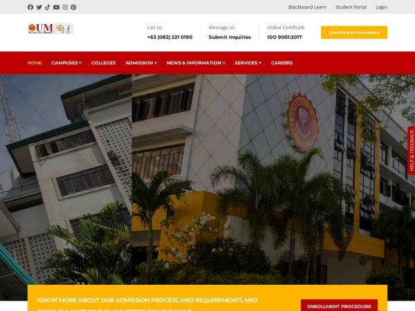 Screenshot of umindanao.edu.ph