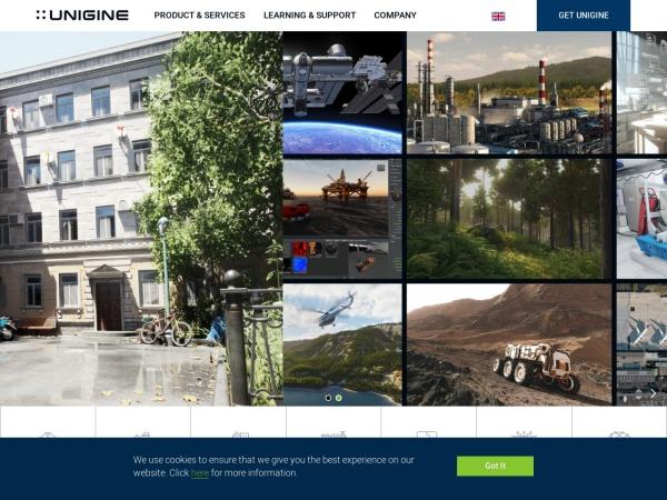 Screenshot of unigine.com