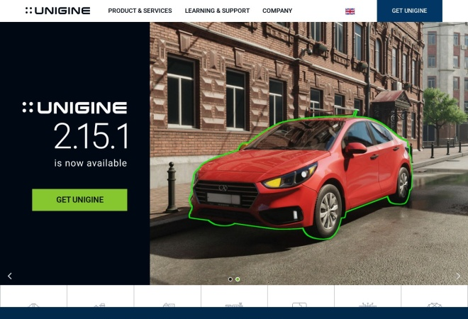 Screenshot of unigine.com