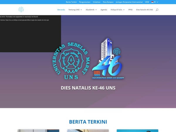 Screenshot of uns.ac.id
