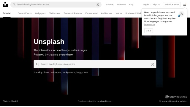 Screenshot of unsplash.com