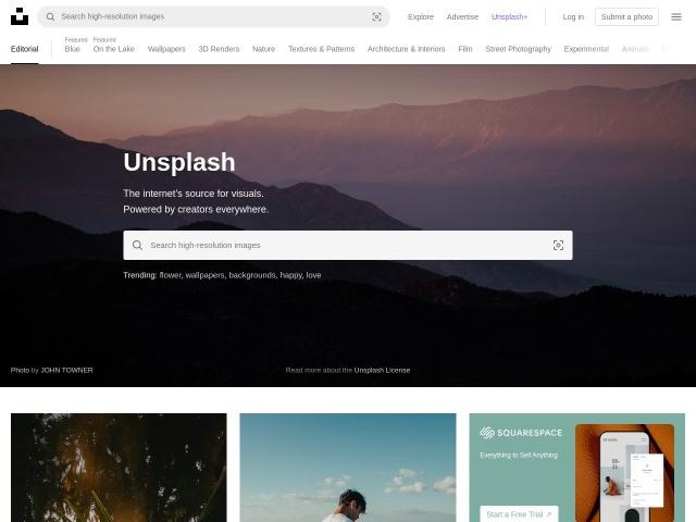 Screenshot of unsplash.com