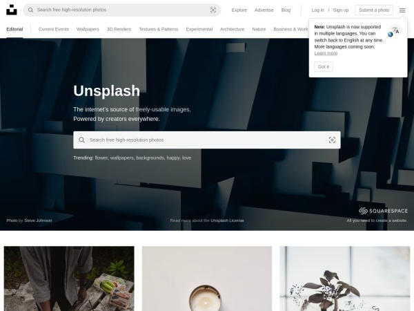 Screenshot von unsplash.com