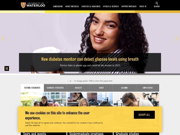 Screenshot of uwaterloo.ca