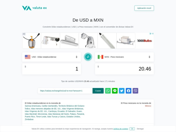 Captura de pantalla de valuta.exchange