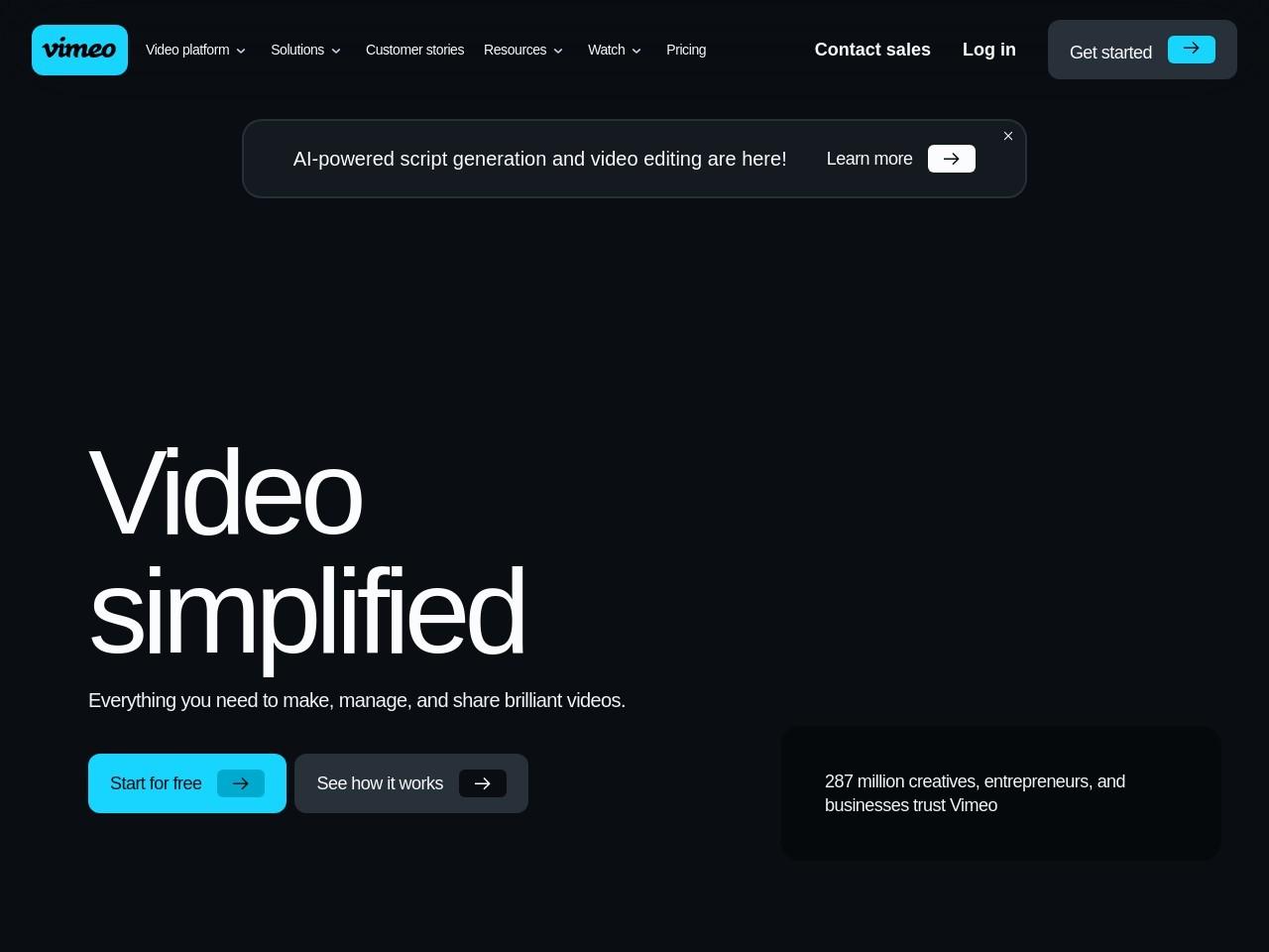 Screenshot of vimeo.com