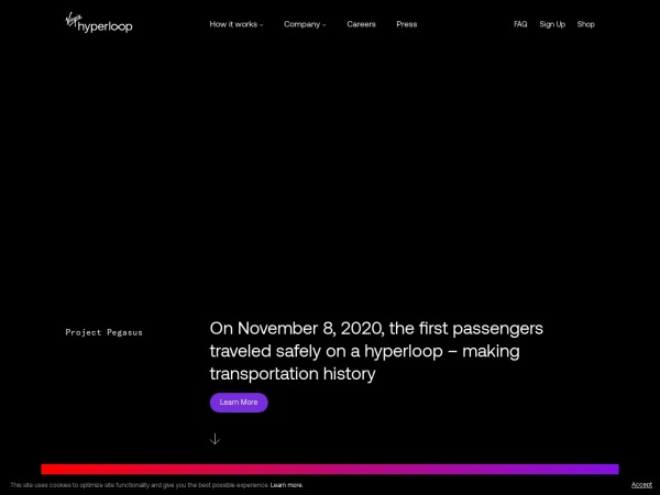 Screenshot of virginhyperloop.com