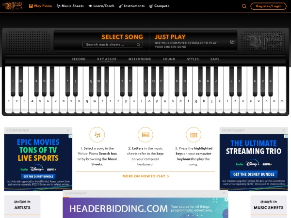 Screenshot of virtualpiano.net