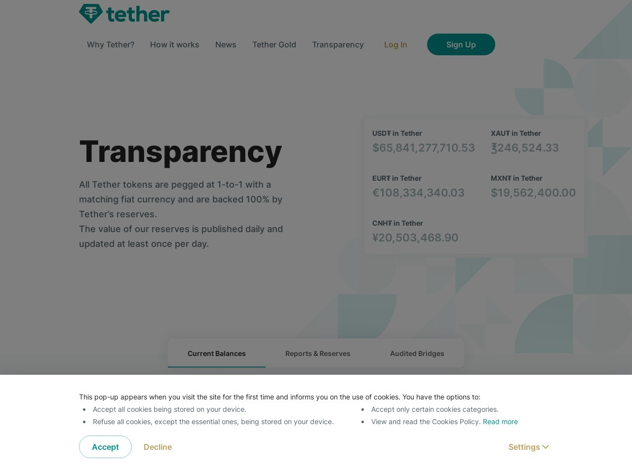 Screenshot of wallet.tether.to