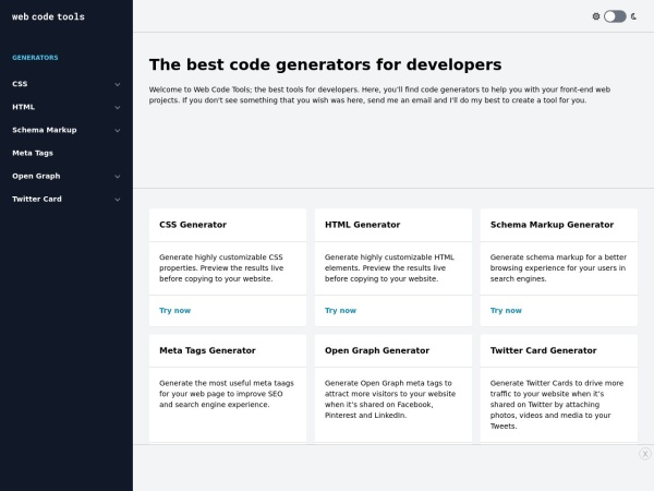 Screenshot of webcode.tools