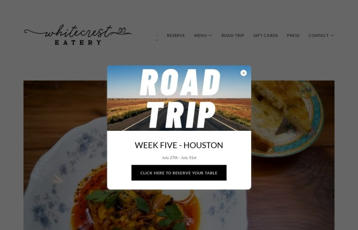 Screenshot of whitecresteatery.com