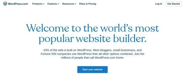Screenshot of wordpress.com