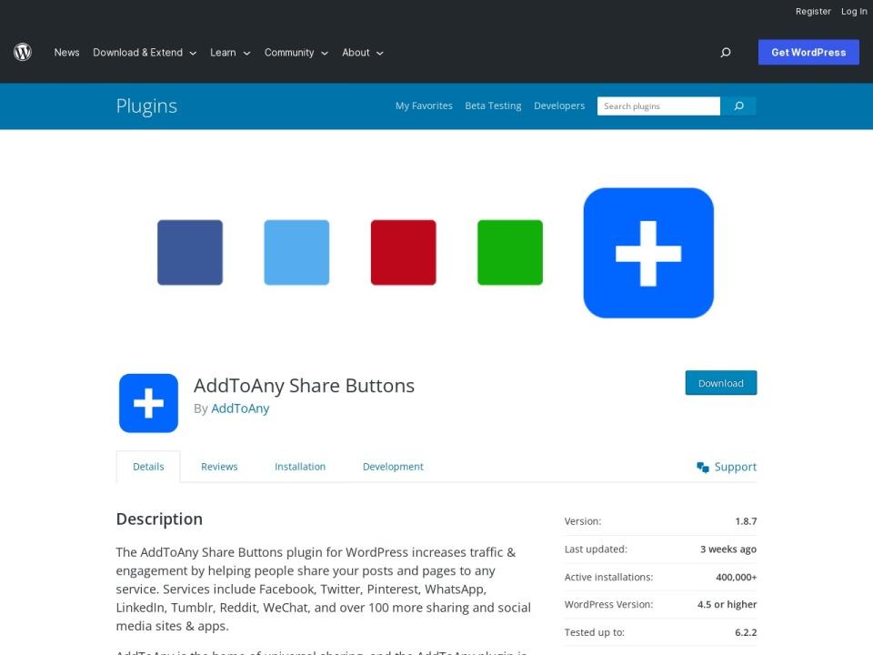 AddToAny Share Button Screenshot