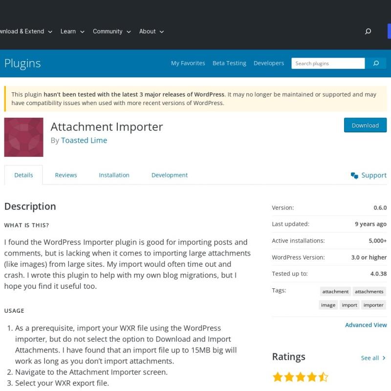 「Attachment Importer」は画像を移行するプラグイン