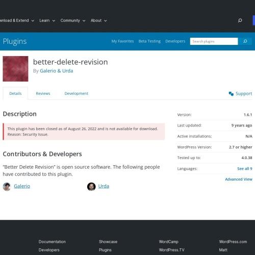 WordPressプラグイン「Better Delete Revision」不要リビジョン削除