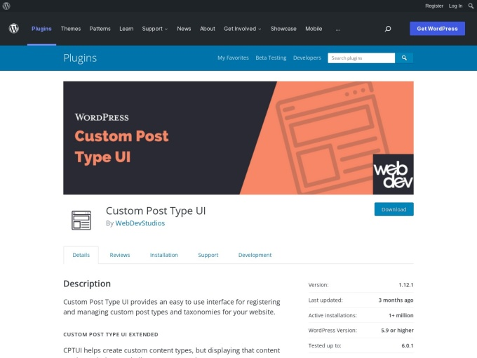 https://wordpress.org/plugins/custom-post-type-ui/