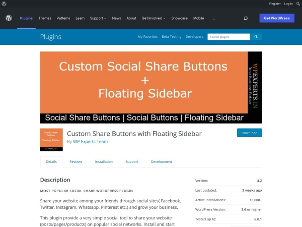 https://wordpress.org/plugins/custom-share-buttons-with-floating-sidebar/