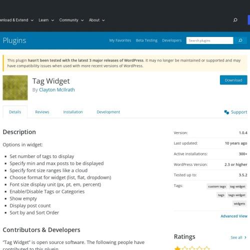 WordPressプラグイン「Tag Widget」タグをリスト表示