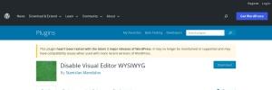 Disable Visual Editor WYSIWYG