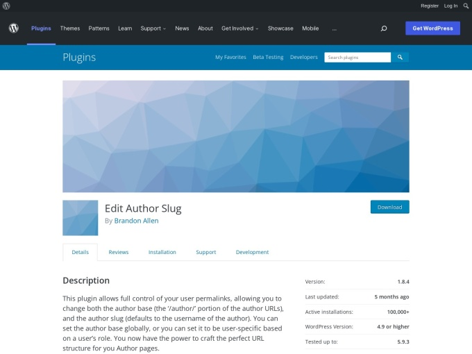 https://wordpress.org/plugins/edit-author-slug/