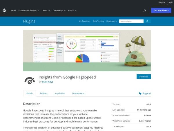https://wordpress.org/plugins/google-pagespeed-insights/