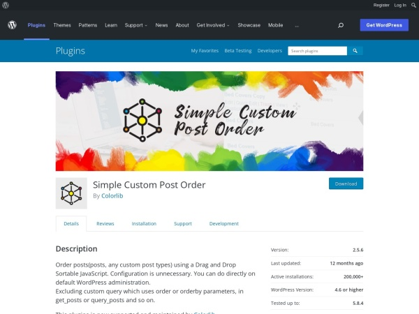 https://wordpress.org/plugins/simple-custom-post-order/