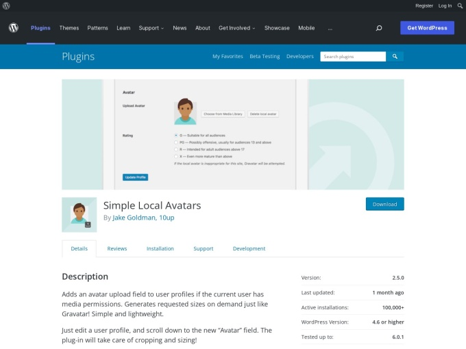 https://wordpress.org/plugins/simple-local-avatars/