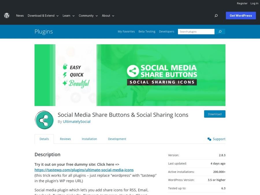 Social Media Plugins Ultimate Social Media