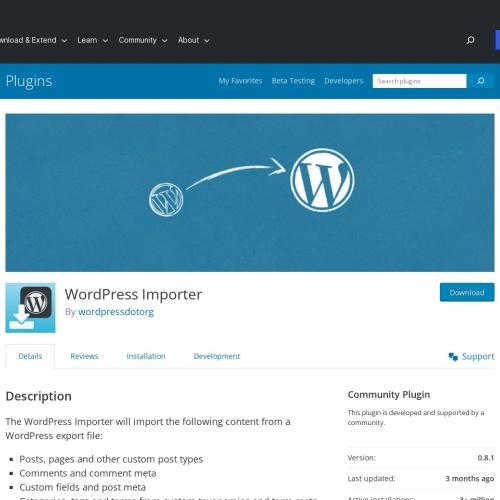 プラグイン「WordPress Importer」データをインポート
