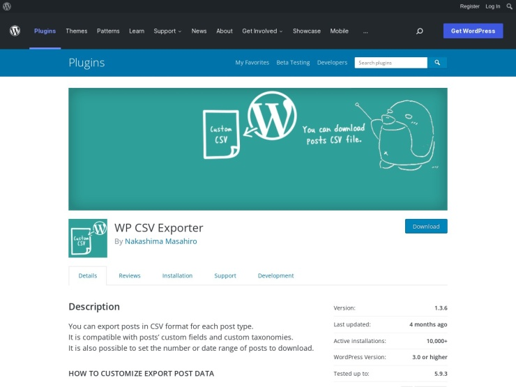 https://wordpress.org/plugins/wp-csv-exporter/