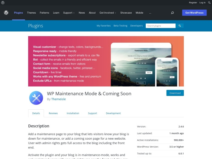 https://wordpress.org/plugins/wp-maintenance-mode/