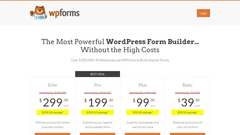 WPForms Plans and Pricing