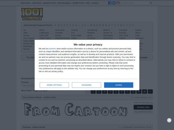 Screenshot of www.1001freefonts.com