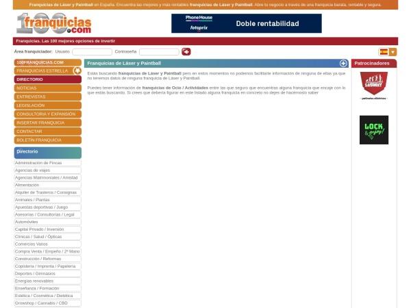 Captura de pantalla de www.100franquicias.com