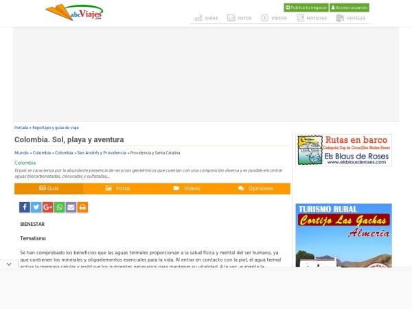 Captura de pantalla de www.abcviajes.com