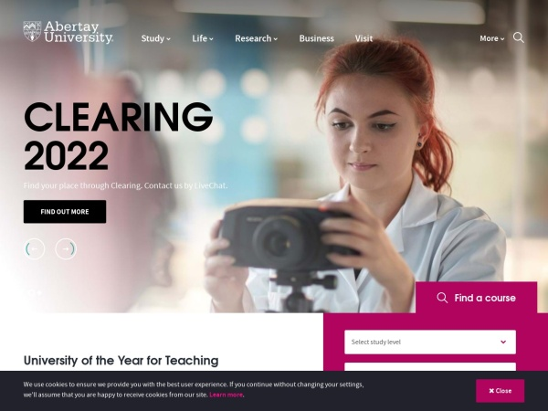 Screenshot of www.abertay.ac.uk