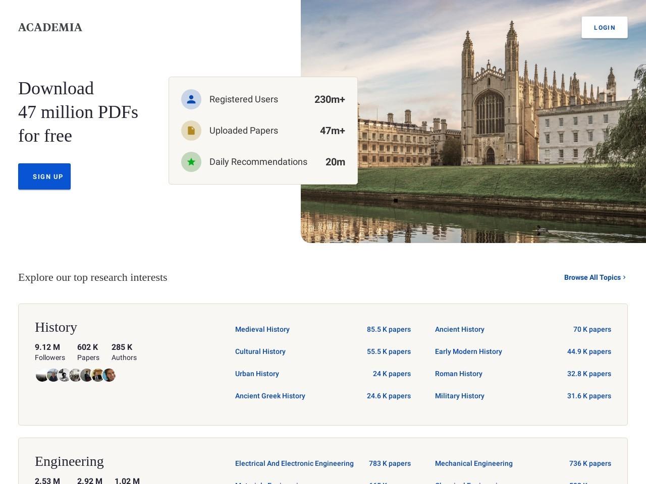 Screenshot of www.academia.edu
