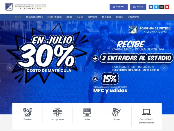 Captura de pantalla de www.academiadefutbolmillonarios.com.co