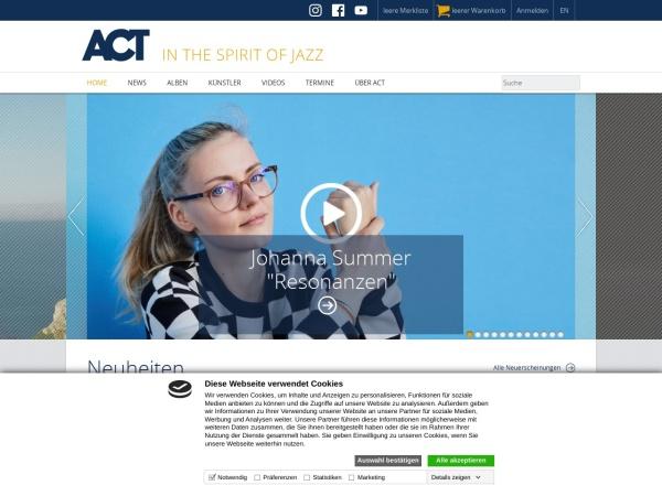 Screenshot von www.actmusic.com