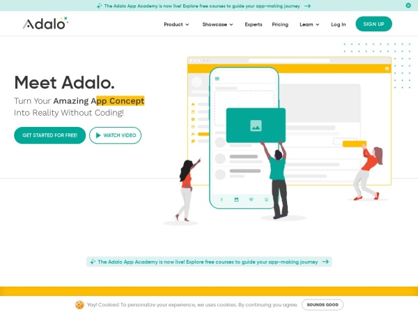 Screenshot of www.adalo.com